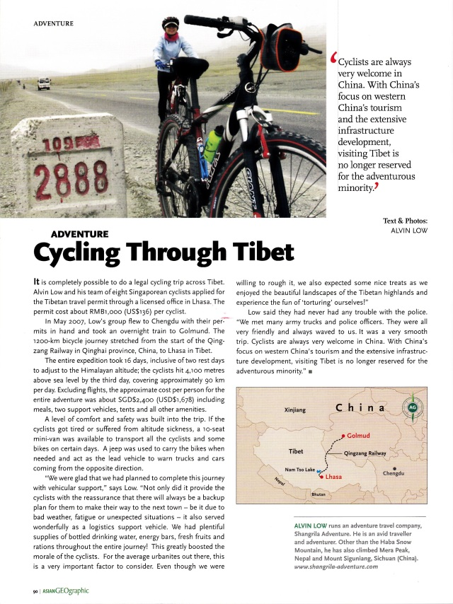 Cycling Through Tibet- Asian Geographic No.51 Issue 1/2008