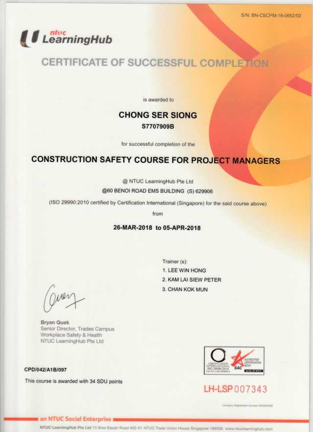 Construction Safety Course for Project Manager 05Apr2018